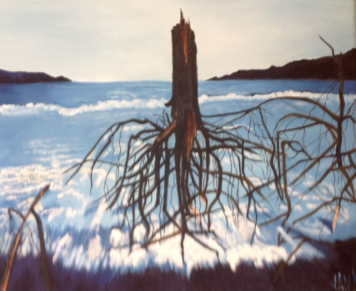 """Painting titled """"After the Tsunami:…"""" by Jan Wall, Original Art, Oil Mounted on Stretcher frame"""