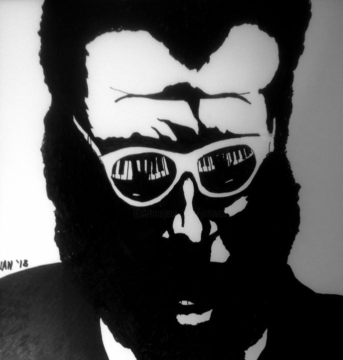 Monk - Painting,  12x12x0.8 in, ©2018 by Jan Wall -                                                                                                                                                                                                      Pop Culture / celebrity, jazz, Monk, black and white