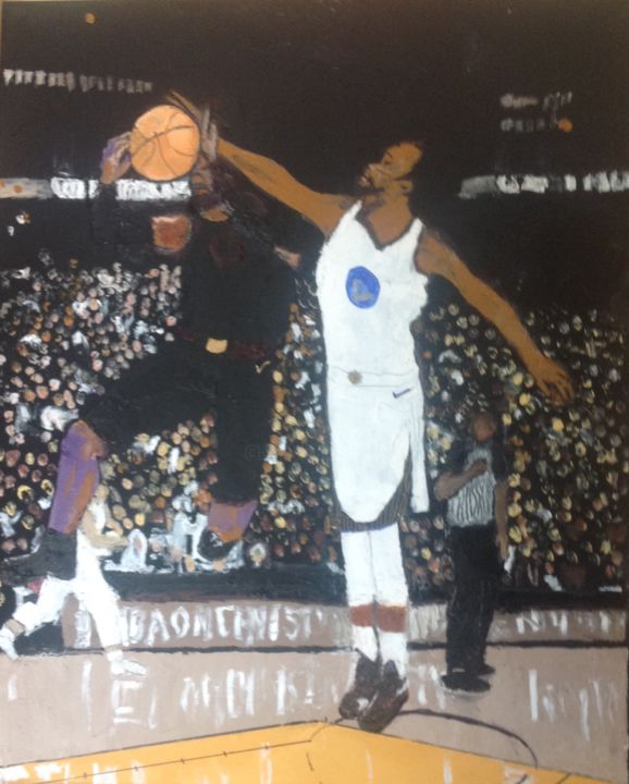 Block! - Painting,  20x16x1 in, ©2018 by Jan Wall -                                                                                                                                                                                                      Sports, basktballl, Warriors, Cavaliers