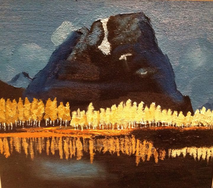 Autumn in the Grand Tetons 2 - Printmaking,  16x16x1.5 in, ©2014 by Jan Wall -                                                                                                                                                                                                                                                                                                                                                                                                          Impressionism, impressionism-603, Nature, autumn, aspens, Grand Tetons, lake, reflection