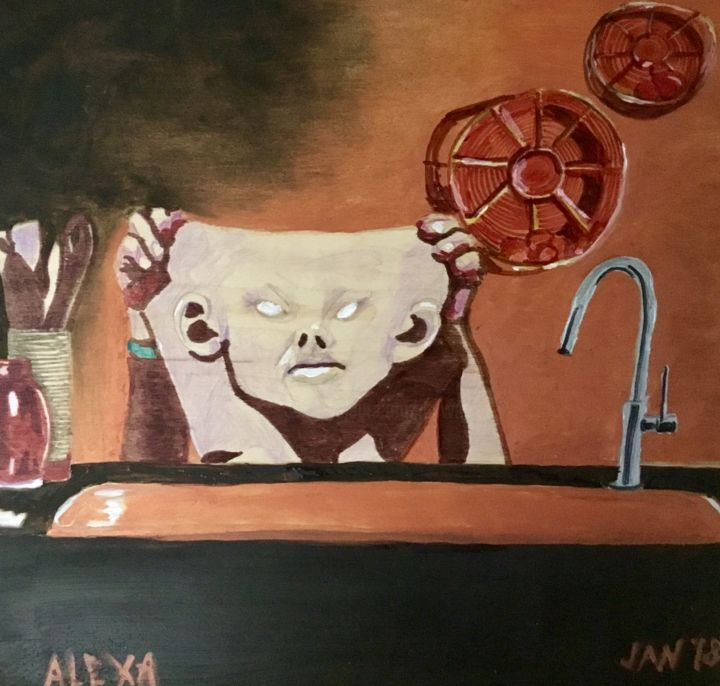 Alexa in the Kitchen - Painting,  12x12x1 in, ©2018 by Jan Wall -                                                                                                                                                                                                                                                                                                                                                              Surrealism, surrealism-627, Dark-Fantasy, Alexa, technology, kitchen, mask