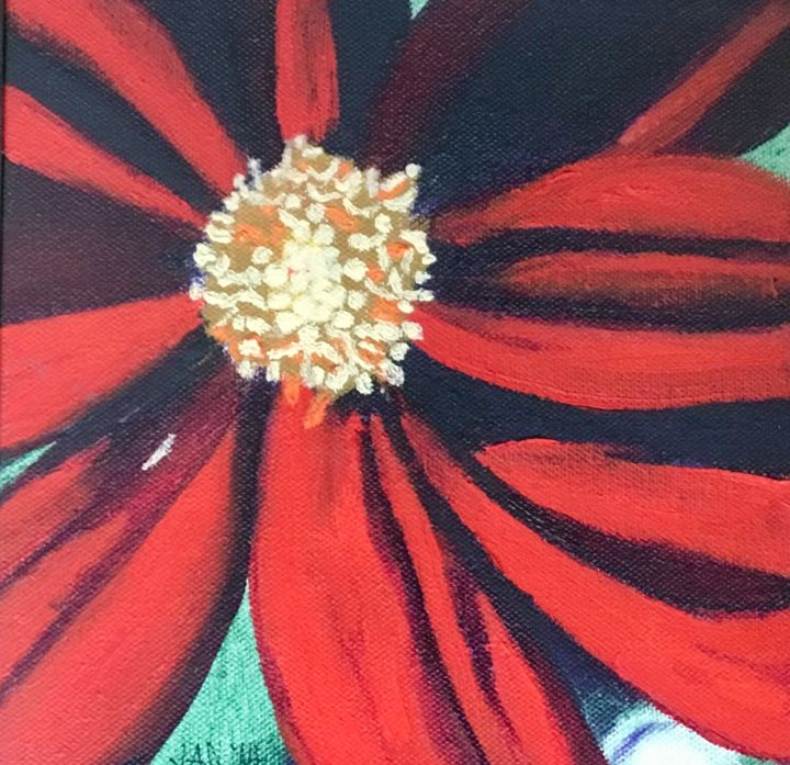 Red Flower 2 - Printmaking,  20x20x0.5 in, ©2018 by Jan Wall -                                                                                                                                                                                                                                                                                                                                                                                                                                                                                                      Hyperrealism, hyperrealism-612, Canvas, Metal, Flower, flower, red, yellow, close up, off center