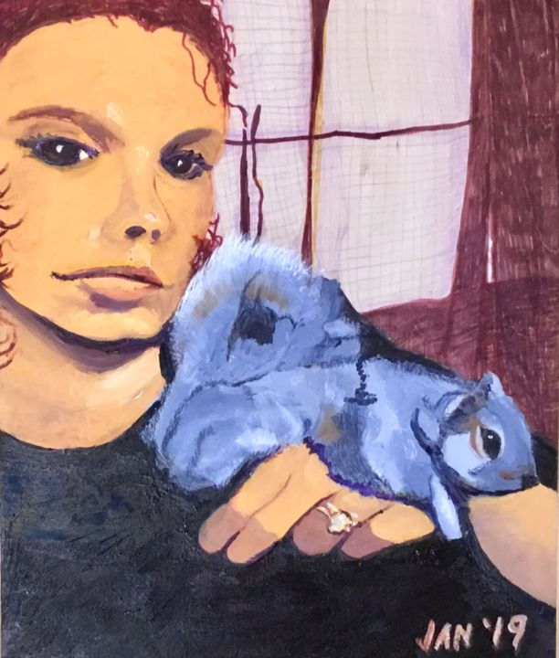 Kayla and the Squirrel - © 2019 woman, squirrel Online Artworks