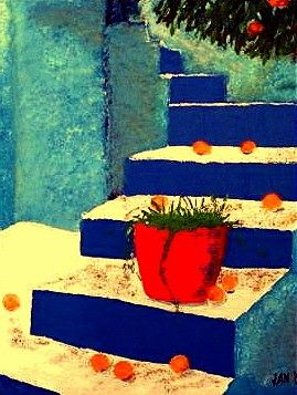 Blue Stairs - Painting,  20x15x1 in, ©2005 by Jan Wall -                                                                                                                                                                                                                                                  Interiors, red pot, blue stairs, Greece, oranges
