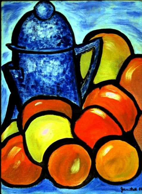 Painting,  9 x 12 in ©1993 by Jan Wall -  Painting, Old speckled blue coffee pot surrounded by fruit, after Roualt