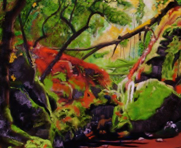 Cataract Canyon, Mt. Tam - Painting,  1x24x20 in, ©2011 by Jan Wall -                                                                                                                                                                                                                                                                                              Nature, Mt. Tam, Northern California, cascade, young boy, pool