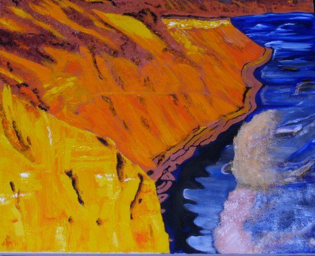 The Cliffs at Palomarin - Painting,  20x24x1 in, ©2011 by Jan Wall -                                                                                                                                                                                                                                                                      Expressionism, expressionism-591, Beach, From the cliff edge, a view of rip tides foaming out to sea.