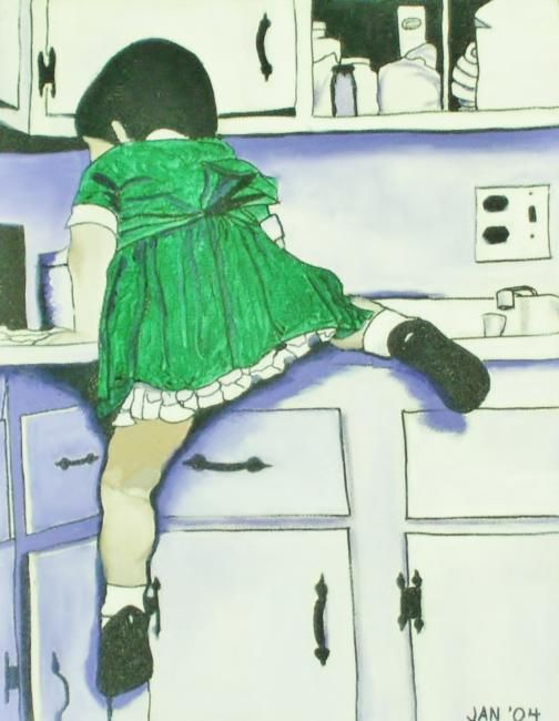 Climbing - Printmaking,  14x11x1 in, ©2012 by Jan Wall -                                                                                                                                                                                                                                                  Children, Family, Kitchen, girl, kitchen