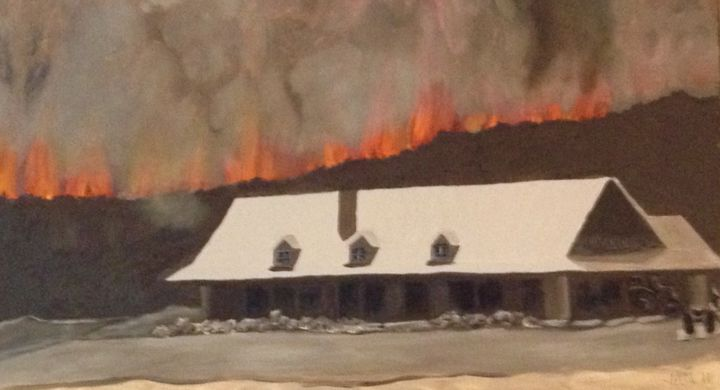 """Painting titled """"2011: Wildfire in T…"""" by Jan Wall, Original Art, Oil"""