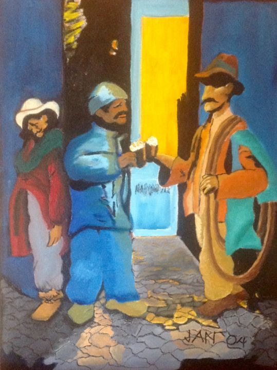 Compadres - Painting,  22x16x1 in, ©2004 by Jan Wall -                                                                                                                                                                                                                                                  Food & Drink, pulque, drinking, Mexico, bar