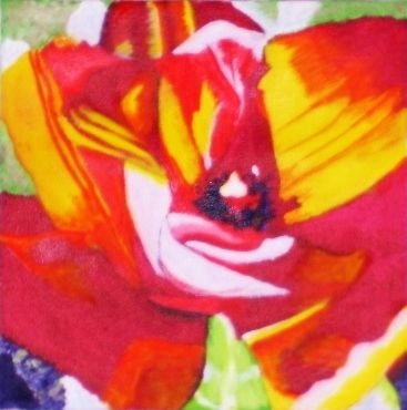 Tulip 3 - Painting,  12x12x1 in, ©2013 by Jan Wall -                                                                                                                                                                                                      Flower, flower, tulip, red