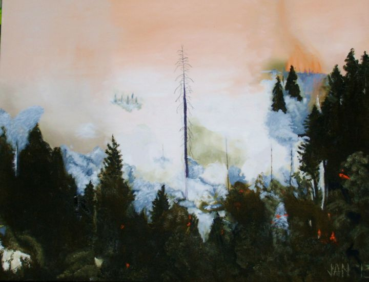 """Painting titled """"Rim Fire, Yosemite,…"""" by Jan Wall, Original Art, Oil Mounted on Stretcher frame"""