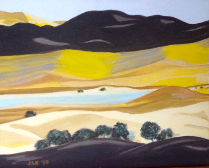 """Painting titled """"California, Spring…"""" by Jan Wall, Original Art, Oil Mounted on Stretcher frame"""