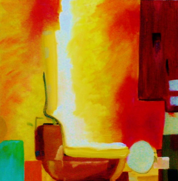 Untitled 2 - Painting,  12x9x1 in, ©2005 by Jan Wall -                                                                                                                                                                                                                                                                                                                  Surrealism, surrealism-627, Abstract Art, Interiors, magic realism, kitchen