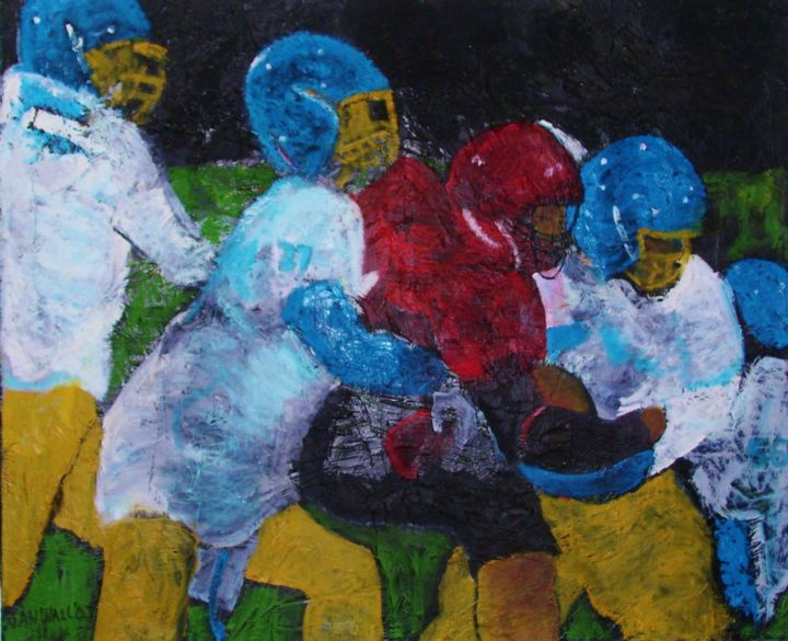 Football Players - Printmaking,  18x24x1 in, ©2010 by Jan Wall -                                                                                                                                                                                                                                                                                                                                                                  Expressionism, expressionism-591, Canvas, Metal, Sports, football, junior high