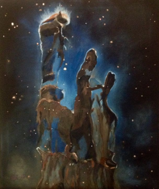 The Pillars of Creation - Painting,  24x20x1 in, ©2015 by Jan Wall -                                                                                                                                                                                                                                                                      Surrealism, surrealism-627, Outer Space, Pillars of Creation, Eagle Nebula