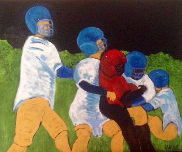 Football Players 2 - Painting,  20x24x1 in, ©2015 by Jan Wall -                                                                                                                                                          Sports, sports, football