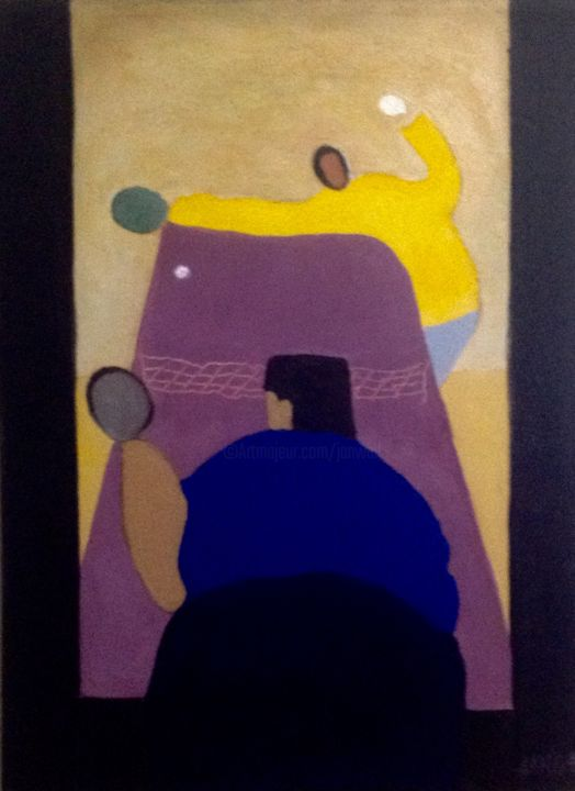 PIng-pong - Painting,  16x12x0.5 in, ©2004 by Jan Wall -                                                                                                                                                                                                                                                  Sports, sports, ping-pong, Milton Avery, modernism