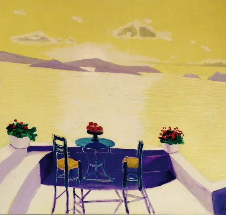 Greek Balcony - Printmaking,  24x24x1 in, ©2005 by Jan Wall -                                                                                                                                                                                                                                                                                                                                              Canvas, Metal, Paper, Seascape, Seascape, Greek islands, sunrise