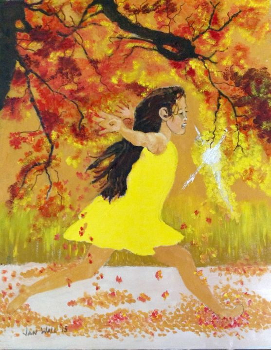 Dawn among the Leaves - Printmaking,  24x18x1 in, ©2013 by Jan Wall -                                                                                                                                                                                                                                                                                                                                                                                                              Figurative, figurative-594, Canvas, Metal, Children, girl, sunrise, autumn leaves