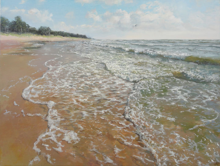 Baltic Sea at Bernati - Painting,  23.6x31.5x0.8 in, ©2019 by Janis Zingitis -                                                                                                                                                                                                                                                                                                                                                                                                                                                                                                                                                                                                                                                                                                                                                                                                                                                                                                              Impressionism, impressionism-603, Beach, Nature, Seascape, Seasons, Water, sea, Baltic Sea, wave, froth, clouds, sunny, sunshine, light, coast, seashore, summer, shallow