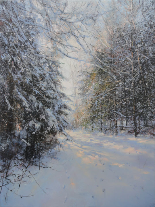 Where Forest Ends - Painting,  31.5x23.6x1.2 in, ©2020 by Janis Zingitis -                                                                                                                                                                                                                                                                                                                                                                                                                                                                                                                                                                                                                                                                                                                                                                          Hyperrealism, hyperrealism-612, Landscape, Nature, Seasons, Tree, forest, woods, trees, winter, pine, Christmas pine, fir, snow, light, tracks