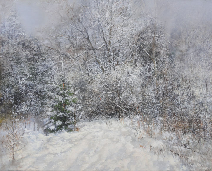 Snow Cloud Passed - Peinture,  19,7x24,6x1,2 in, ©2020 par Janis Zingitis -                                                                                                                                                                                                                                                                                                                                                                                                                                                                                                                                                                                                                                                                                                                              Expressionism, expressionism-591, Paysage, Nature, Saisons, Arbre, winter, snow, trees, woods, forest, snowfall, grass, fir, day