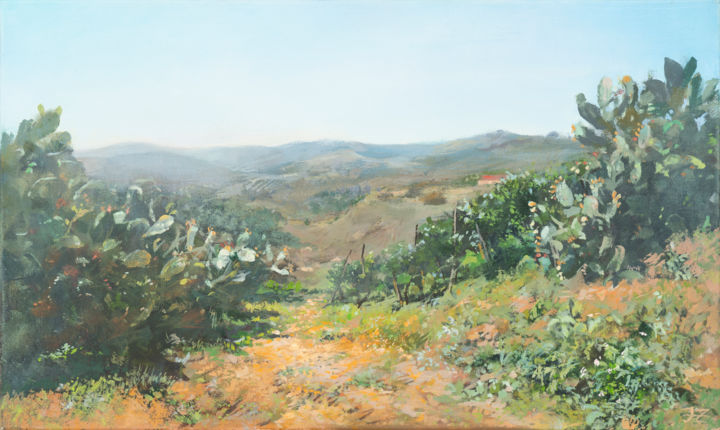 Sicily in September - Painting,  11.8x19.7x0.8 in, ©2020 by Janis Zingitis -                                                                                                                                                                                                                                                                                                                                                                                                                                                                                                                                                                                                                                                                                                                                                                                                                                                                                                              Impressionism, impressionism-603, Agriculture, Landscape, Light, Nature, Seasons, Sicily, Sicilia, Piazza Armerina, distance, cactus, vineyard, hills, soil, farm, sunshine, sunny day, blue sky