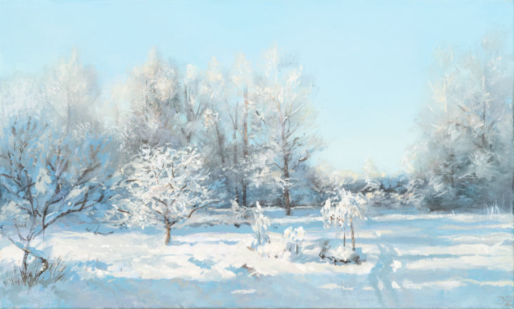 Garden in Winter - Painting,  11.8x19.7x0.8 in, ©2020 by Janis Zingitis -                                                                                                                                                                                                                                                                                                                                                                                                                                                                                                                                                                                                                                                                                                                                                                                                                                                                                                                                                          Impressionism, impressionism-603, Garden, Landscape, Light, Nature, Seasons, garden, winter, Latvia, Europe, sunlight, morning, snow, shadows, tree, frost, North, tracks, cold