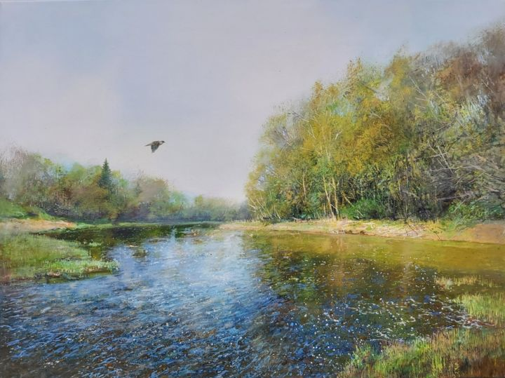 """Painting titled """"The River in Spring…"""" by Janis Zingitis, Original Art, Oil Mounted on Stretcher frame"""