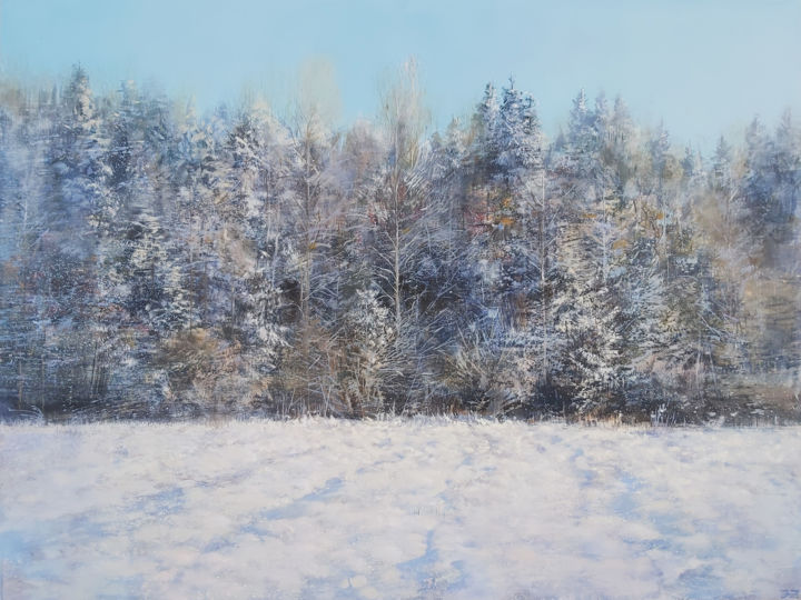 """Painting titled """"Forest Side, Early…"""" by Janis Zingitis, Original Art, Oil Mounted on Stretcher frame"""
