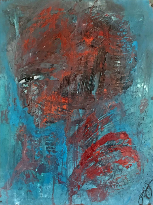 joan of arc 2. - Painting,  30x23x0.3 in, ©2018 by Jason Lincoln Jeffers -                                                                                                                                                                                                                                                                      Abstract, abstract-570, Abstract Art, Portraits, female abstract portrait