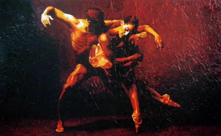 "Dance... step of the scorpion - Painting,  80x130 cm ©2012 by Jason -                            Realism, ""Dance... step of the scorpion"" Olio su tela a fondo scabroso cm.130x80"
