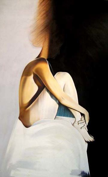 Modern Art - Nude Female Figure In Contemporary Style - Painting,  40x30 in, ©2008 by Javed Hashmi -                                                                                                                                                                                                  Western Style Art, Modern Nude Paintings, Contemporary Female Figure, Naked Girl Painting By Famous Artists