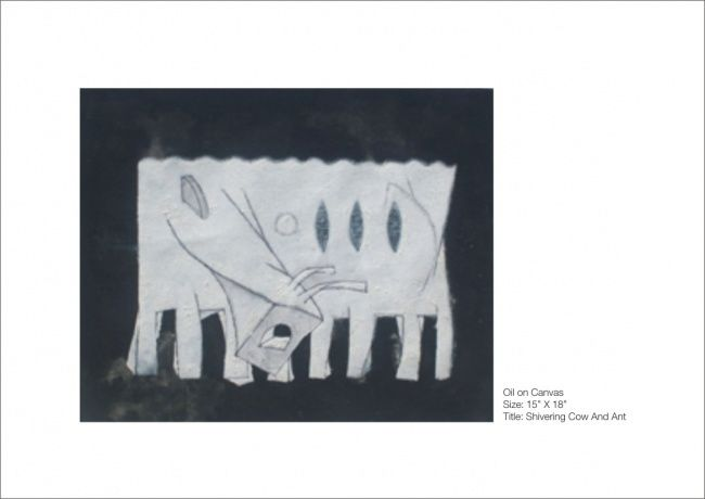 SHIWERING COW AND ANT Painting by Javed Mulani | Artmajeur