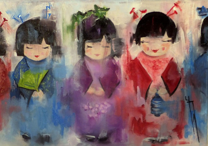 poupees-japonaises-hst-2017-24x35-grd-ft.jpg - Painting ©2017 by Yveline JAVER -