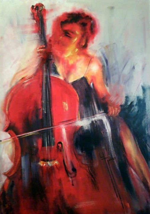 Corps accords n° 288/ - Painting,  31.9x23.6 in, ©2019 by Yveline Javer -                                                                                                                                                                                                                                                                                                                                          Music, violoncelliste, femme violoncelliste, corps accords, couleurs chaudes, sensualité, osmose