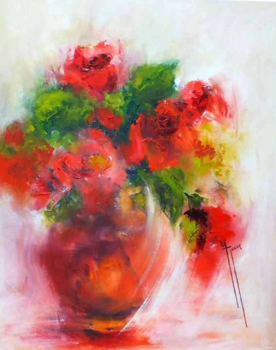 Eclat rouge - Painting,  54x65 cm ©2015 by Yveline JAVER -                                                            Expressionism, Canvas, Flower, roses rouges, roses rouges anciennes, tons vifs, vase semi opaque, fleurs, tiges des roses, ton sur ton, rouge, lumière, lumière diffuse, bouquet de fleurs, bouquet de roses, bouquets de roses anciennes