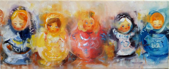 Mes jolies poupées russes - Painting,  20x50 cm ©2016 by Yveline JAVER -                                                            Impressionism, Canvas, World Culture, collections de poupées russes, adorables poupées russes, tableau gaieté sans égale, nuances orangées, harmonieux, bleus clairs, bleus clairs vifs, jaunes doré