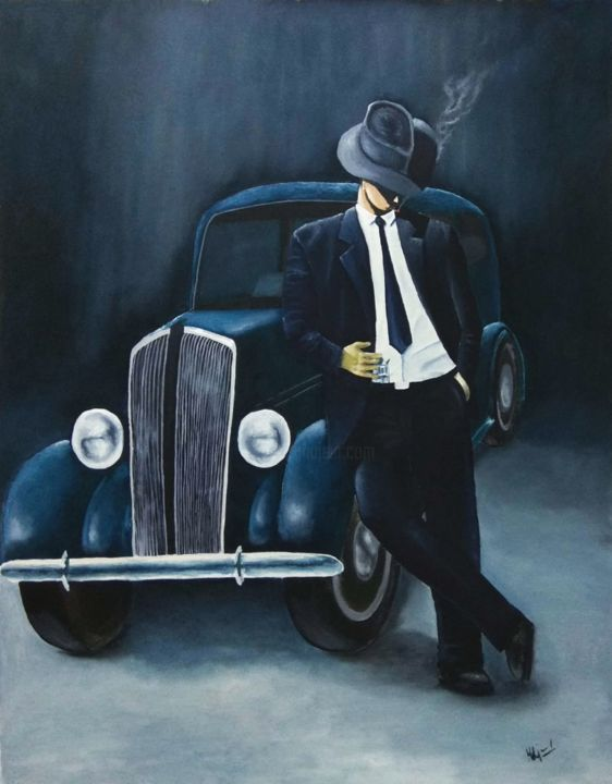 """Painting titled """"The Gangster"""" by Murad Jawed, Original Art, Oil"""