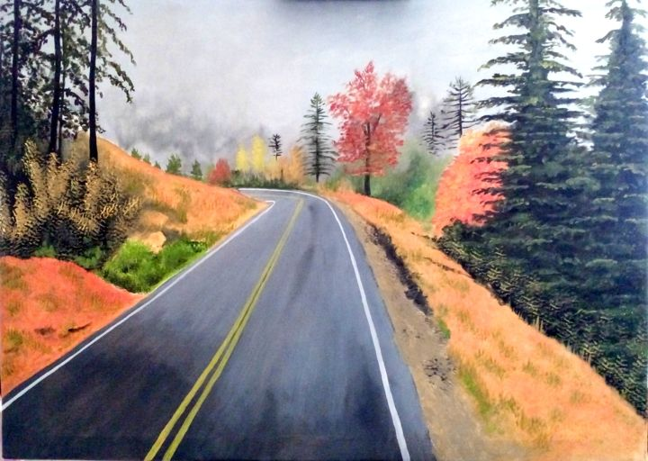 """Painting titled """"Mountain Road"""" by Murad Jawed, Original Art, Oil"""