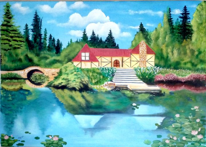 """Painting titled """"A cottage besides a…"""" by Murad Jawed, Original Art, Oil"""