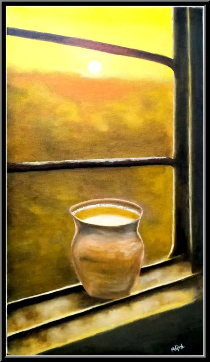 """Painting titled """"Kulhad Chai"""" by Murad Jawed, Original Art, Oil"""
