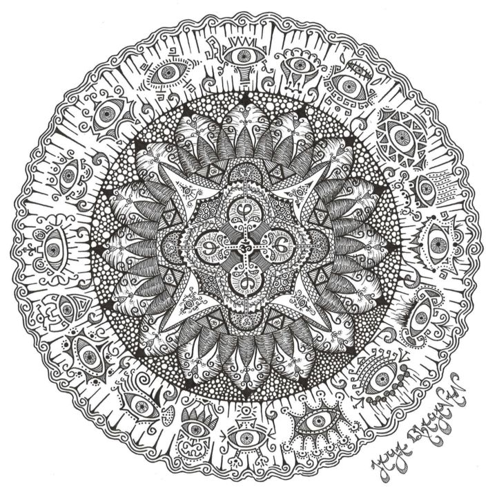 Mandala Phi - Dessin,  11,7x16,5 in, ©2016 par Jaya Bhagavan -                                                                                                                                                                                                                                                                                                                                                                                                                                                                                                                                                                                                                                                                                                                                                                                                                                                                                                              Illustration, illustration-600, Géométrique, Nature, Cosmos, Patterns, Spiritualité, divine, geométrie, geometry, mandala, black, white, noir, blanc, third, eye, troisième, oeil