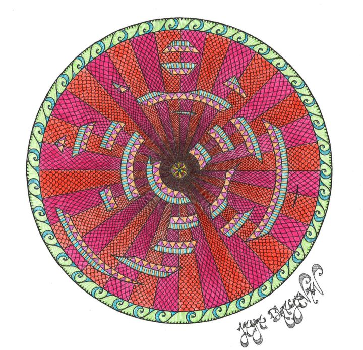 Mandala Hidden Truth - Dessin,  11,7x16,5 in, ©2016 par Jaya Bhagavan -                                                                                                                                                                                                                                                                                                                                                                                                                                                                                                                                                                                                                                                                                                                                                                                                                                                                                                                                                                                                                                                                                                                                                                                                                                  Abstract, abstract-570, Cosmos, Nature, Patterns, Spiritualité, aum, om, mandala, dessin centré, drawing, colors, hidden, truth, vérité cachée, yoga, meditation, subtile, subtle, zen, god, dieu, absolute, spiritual, esprit, infini