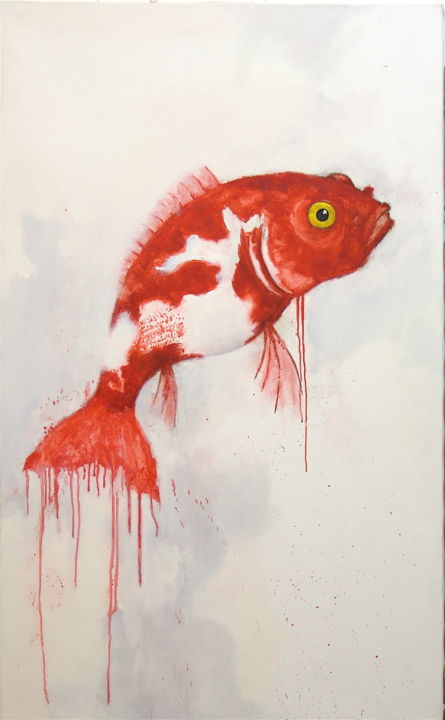 Poisson 1 - Painting,  51.2x31.5 in, ©2019 by Jean Christophe Le Du -