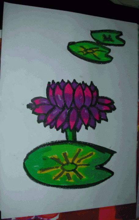 """Painting titled """"Lotus in the pond"""" by Joyce Chua, Original Art,"""