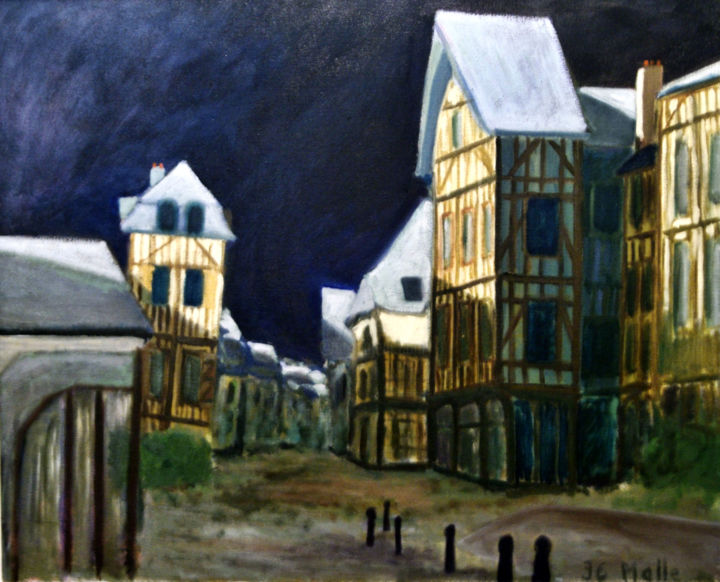 Troyes la nuit.jpg - Painting,  25.6x29.5 in ©2017 by jc malle -                                                                Figurative Art, Expressionism, Architecture, Cityscape