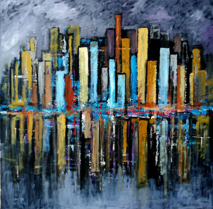 buildings - Painting,  31.5x31.5 in ©2017 by jc malle -                                                                                        Abstract Art, Abstract Expressionism, Architecture, Abstract Art, Cityscape, Cities