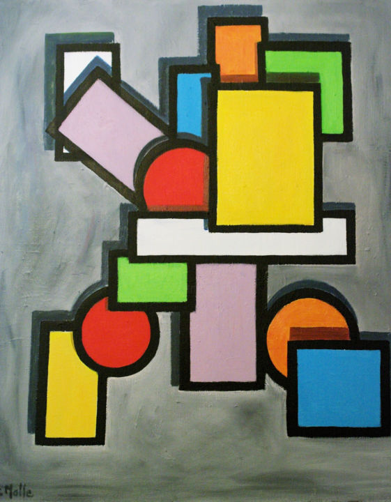 rectangle jaune - Painting,  23.6x28.7 in ©2013 by jc malle -                                                    Abstract Art, Abstract Art, Geometric